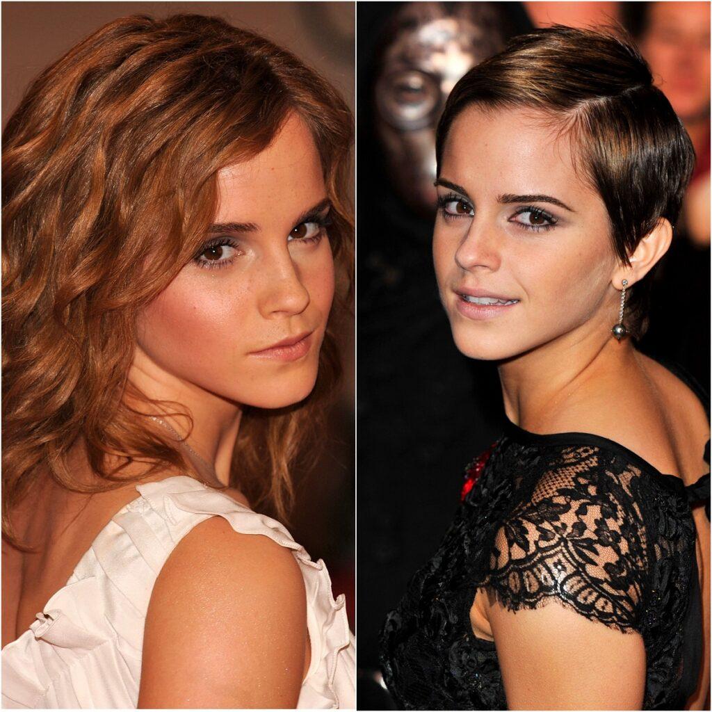 colaj cu actrița Emma Watson în timp ce în prima imegine este blondă și are părul lung, iar în cea de-a doua este brunetă și tunsă pixie lung