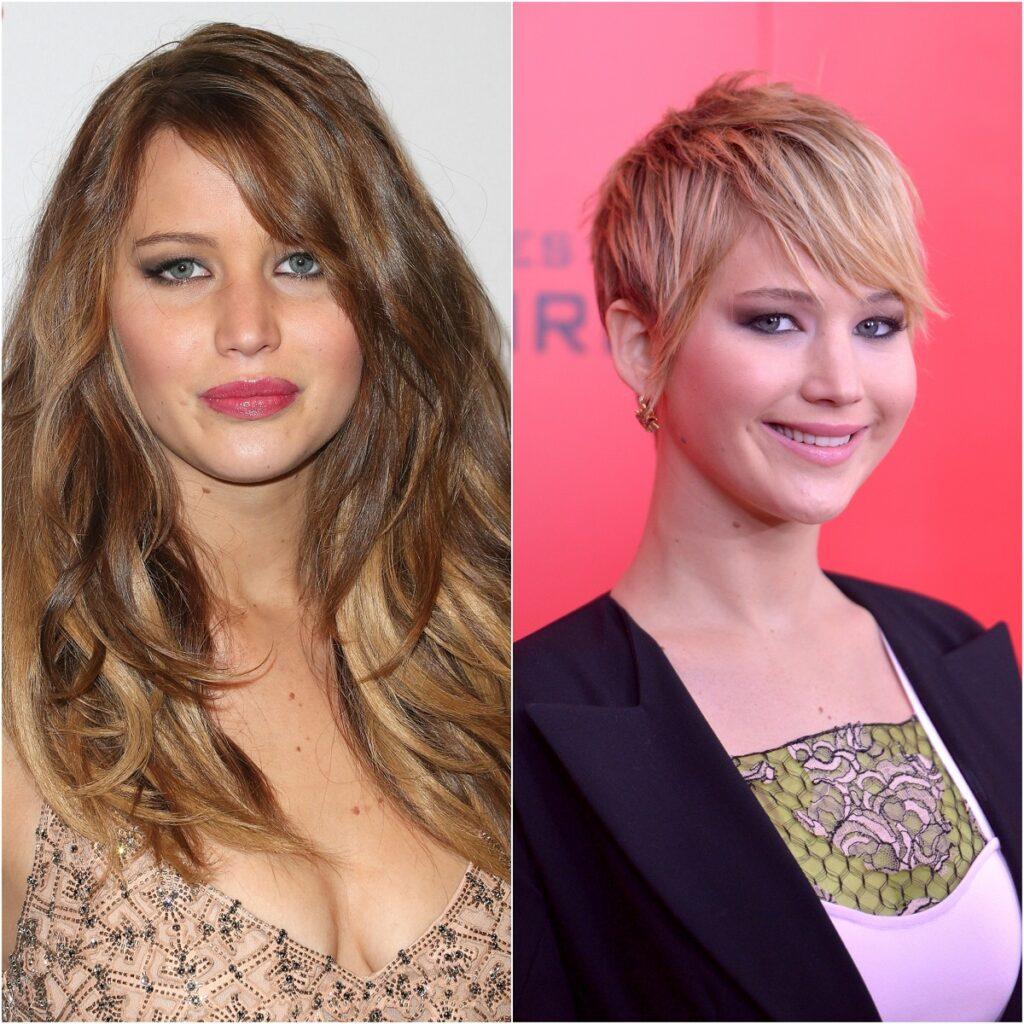 colaj cu Jennifer Lawrence care are părul lung într-una din imagini, iar în cealaltă are părul cu tunsoarea pixie lung