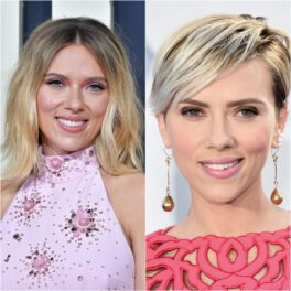 colaj cu actrița Scarlett Johansson care este blondă și are părul lung într-o imagine, iar în cealaltă scurt, tuns pixie