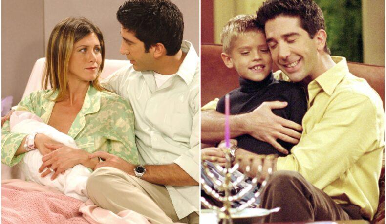 Colaj cu imagini din Friends, cu Ross Geller, Rachel Green, Ben Geller și Emma Geller Green. În prima imagine, Rachel o ține pe Emma în brațe și Ross e lângă ele pe pat. În a doua, Ross îl strânge în brațe pe Ben. Copiii din serialul Friends s-au schimbat foarte mult de la terminarea serialului