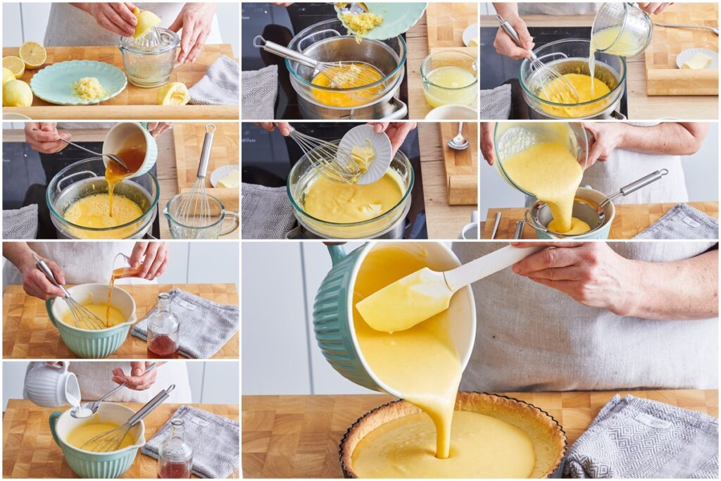 Colaj de poze cu pașii de preparare a cremei de lămâie cu brandy