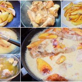 Colaj de poze cu pașii de preparare rețeta de mâncare de gutui cu pui