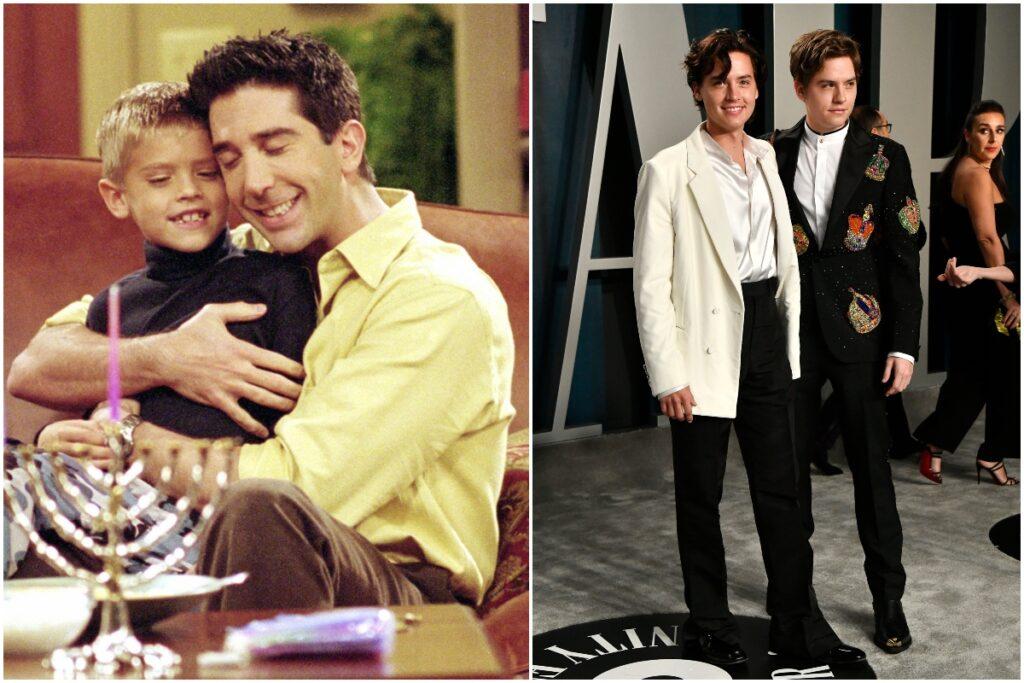 Colaj Ben și Ross Geller, plus Cole și Dylan Sprouse de la petrecerea Vanity Fair, după Premiile Oscar, 2020. Dylan Și cole poartă costume, unul alb și celălalt negru