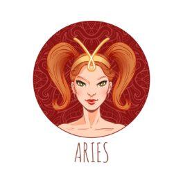 o femeie frumoasă într-un cadran roșu în timp ce are părul prin în două codițe și reprezintă zodia berbecului