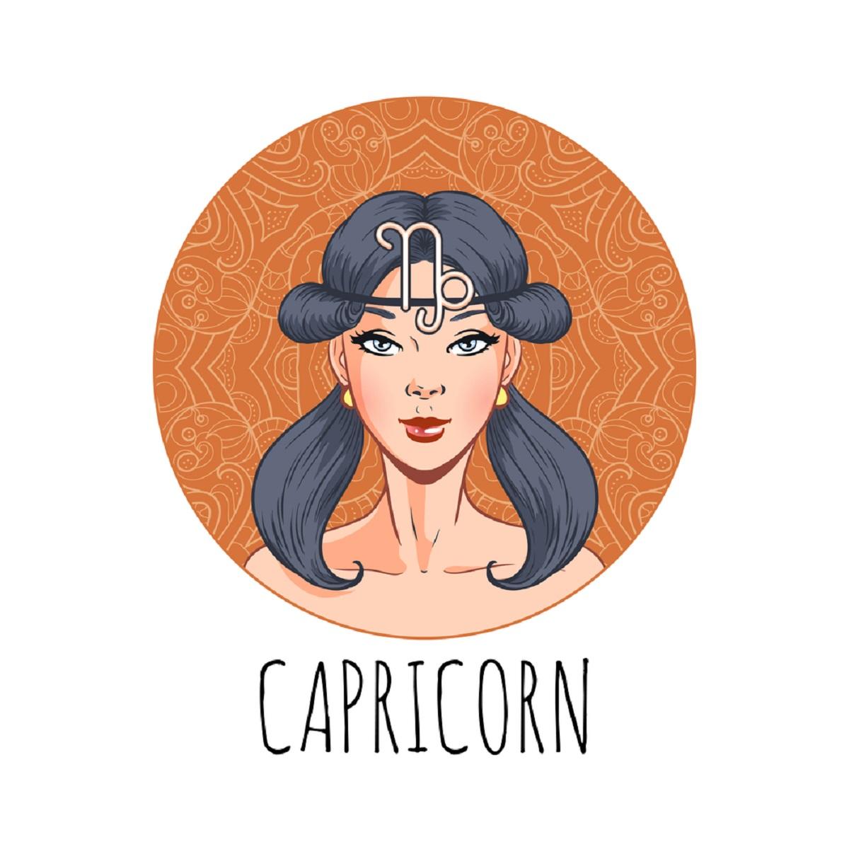 o femeie frumoasă care stă într-un cadran portocaliu și reprezintă zodia capricornului