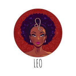 o femeie frumoasă care stă într-un cadran roșu și reprezintă zodia leului
