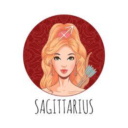 o femeie frumoasă care stă într-un cadran roșu și reprezintă zodia săgetătorului