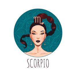 o femeie frumoasă care reprezintă zodia scorpionului într-un cadran verde