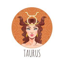 o femeie frumoasă reprezentând zodia taurului într-un cadran maro cu părul creț