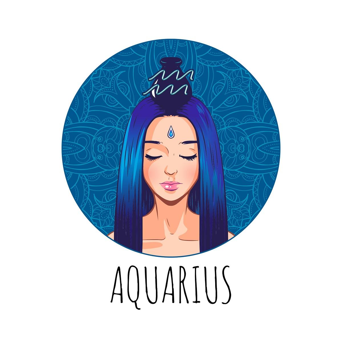o femeie frumoasă care reprezintă zodia vărsătorului și stă într-un cadran albastru